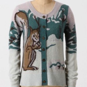 Anthropology Whimsical Squirrel Forest Cardigan S